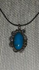 """Vintage Navajo Turquoise Necklace - AM Sterling Silver - 30"""" long necklace chain"""
