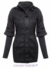LADIES WOMENS HOODED DUFFLE FAUX WOOL TOGGLE KNITTED SLEEVES TRENCH COAT JACKET