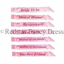 DELUXE PINK HEN PARTY SASH FANCY DRESS HEN NIGHT WEDDING LADIES BLING SASHES