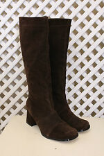 Vintage brown 60s 70s style hippy leather go go suede 90s mod boots 5