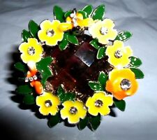 DRAGONFLY FLORAL FLOWER YELLOW GREEN ORANGE RING GLASS AUSTRIAN CRYSTALS 7 NEW