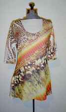 Fantazia Brown Animal Print Scoop Neck Tunic Top Size S $53