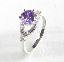 White Gold Plated Lilac Simulated Diamond Ladies Women Valentines Ring Size O Q
