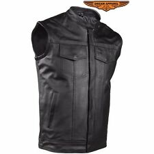 Mens Leather Vest Black Liner 2 Pocket