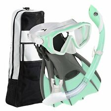 Snorkeling Mask Set w/ Trek Fins Dry Gear Bag Womens Size 8-11 MINT GREEN