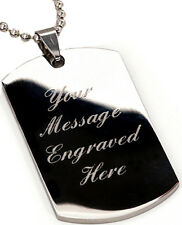 Men's dog tag pendant & necklace chain - Custom Engraved + christmas gift pouch