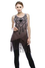 Vocal Crystals Stones Studs Tie Dye Tank Tribal Fringe Shirt Sexy  M L XL