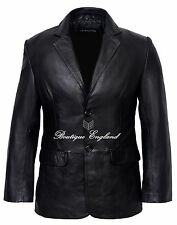 Men's CLASSIC BLAZER  Black Tailored Soft Real Lamb  Leather Jacket Coat