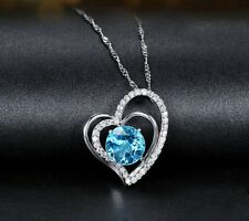 18K White Gold GP sea blue diamond  Austrian Crystal heart Pendant Necklace N122