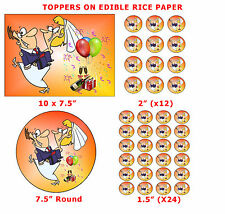 Funny Bride Carrying Groom Wedding Cake/Cup Cake Topper Decoration On Rice Paper
