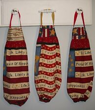 USA Flag Liberty Stars Life Plastic Grocery Bag Rag Sock Holder Organizer HCF&D