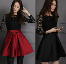 Spring Autumn Graceful Womens Floral Lace Stitching Half Sleeve Sweet Mini Dress