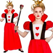 Child Queen Of Hearts Outfit Fancy Dress Costume Alice in Wonderland Kids Girls