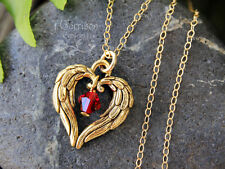 Angel Wing Heart & Birthstone Necklace- 22k gold pl. charm, 14k gold fill chain