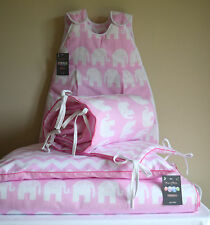 100%COTTON Cot Bed Duvet Cover Set Girls Elephant Chevron Zig zag Pink piping