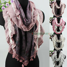 Fashion Women Floral Ruffle Mohair&Lace Trim Tassel Knit Long/Infinity Scarf New