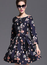 Fashion European Womens Spring Autumn Floral Long Sleeve Sweet Belted Mini Dress