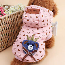 Pet Dog Cat Puppy Clothes Jacket Coat Costume Apparel Hoodie Winter Warm Pink