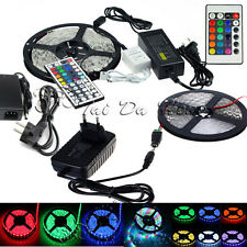 5M 3528 5050 RGB 300Leds SMD Flexible LED Strip Light 44key Remote 12V Adapter