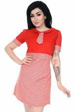 Ladies 60s Retro Vintage Mod Red & White Gingham Mini Shift Scooter Tie Dress