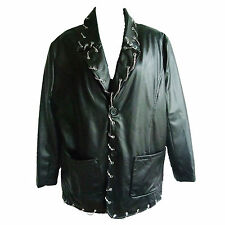 Leather-look Gothic Jacket with Silver Chain & Eyelets Edging (WAS £35)