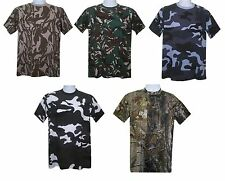 MENS CAMOUFLAGE T SHIRT COMBAT MILITARY CAMO ARMY FISHING HUNTING TOP VEST S-5XL