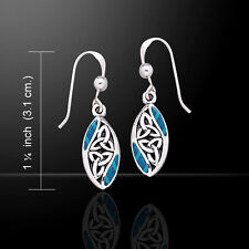 Celtic Knotwork Trinity .925 Sterling Silver Earrings Choice of Gem Peter Stone