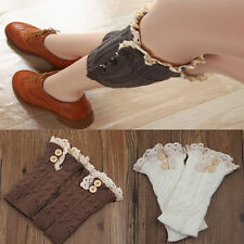 Women's  retro Crochet Knitted Lace Trim Boot Cuff Toppers Leg Warmers Socks