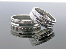 14 karat white gold wedding band set