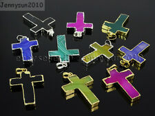 Natural Multi-Colored Agate Sliced Cross Healing Pendant Charm Beads Gold Silver