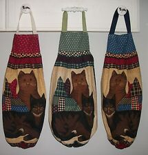 Tabby Cats Primitive Patchwork Plastic Bag Rag Sock Holder Organizer HCF&D