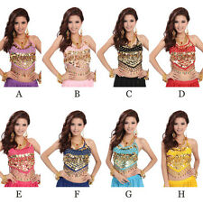 Sexy Folded Lace Coins Chiffon Belly Dance Sequins Beads colors Bra Top Costume