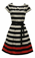 Retro 1940's 1950's Black White Red Stripe Nautical Border Print Tea Dress