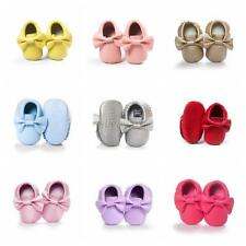 Baby Kids Boy Girl Fringe Soft Sole Moccasin Toddler PU Leather Crib Shoes 0-18M