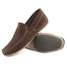 Mens New Brown Suede Moccasin Slip On Comfortable Driving Shoes 6 7 8 9 10 11 12