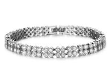 18K White Gold GP 2 Rows Austrian Crystal Lady Gemstone Chain Bracelet BT59b