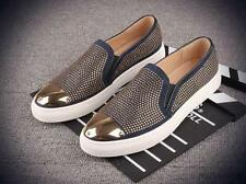 New Mens slip on loafer metal toe punk leather studded casual dress shoes