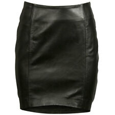 VIPARO Black Front Tilted Short Lambskin Leather Skirt - Bella