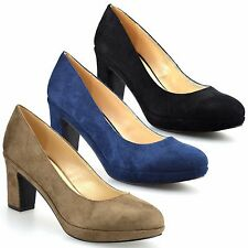 Ladies Womens New Mid Block Heel Leather Smart Work Pumps Party Court Shoes Size