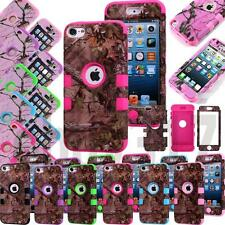 Triple Layer Pink Tree Camo Impact Rubber Hard Case Cover For iPod Touch 4/5/6th