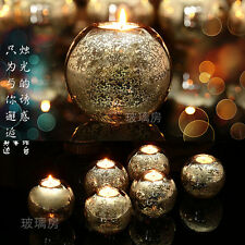 Dia10cm Silver Glass Round Wedding Event Party Tealight Ball Candle Holder Stick