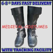 Medieval Leather Boots Black Re-enactment Mens Larp Role Play Costume Boot A24