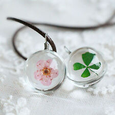 Charming Women Dried Flowers Narcissus Lucky Clover in Glass Orb Chain Necklace
