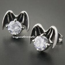 316L Stainless Steel Wing Fly White CZ Stone Mens Biker Stud Earring 3Q004A