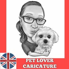 Personalised owner and pet Caricature from photo best gift cat dog lovers