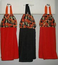 Black Cats Halloween Pumpkin Patch Hanging Kitchen Oven Fridge Dishtowel HCF&D
