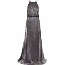 VERA WANG Gown Jewel Neckline Steel Sequined Maxi Dress 8 10 NEW WITH TAGS