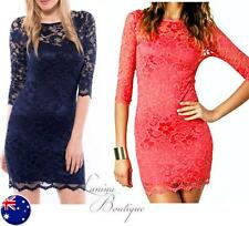 AUTHENTIC ASOS Quality Lace Slash Neck Bodycon Dress Sz AU 8-14 Pink John Zack