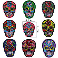 Flower Sugar Skulls Head Embroidered Iron/Sew On Patch Goth Punk Rock Applique
