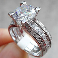 Women's 2.20 Ct Round Cut CZ 10K White Gold Plated Engagement Ring Set Size 5-10